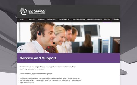 Screenshot of Support Page eurodexx.com - Eurodexx Voice and Data — Communication with Simplicity - captured Oct. 3, 2014