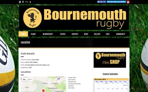 Screenshot of Contact Page bournemouth-rugby.co.uk - Bournemouth RFC - Location - captured Nov. 23, 2016