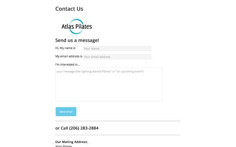 Screenshot of Contact Page atlaspilates.com - Contact Us - Atlas Pilates - captured Aug. 21, 2019