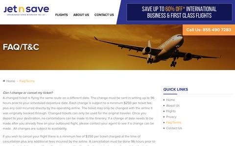 Screenshot of FAQ Page jetnsave.com - Faq/Terms - JetNsave - Unpublished Flights - captured June 8, 2017