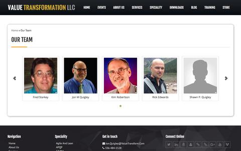 Screenshot of Team Page valuetransform.com - Our Team | Value Transformation - captured Oct. 19, 2017