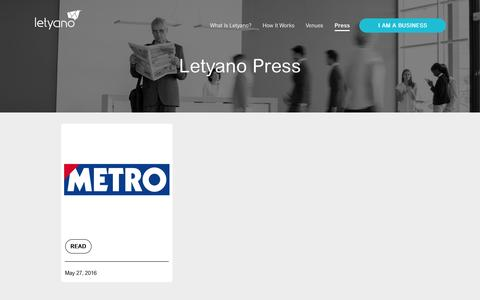 Screenshot of Press Page letyano.com - Feedback with benefits - Letyano - captured July 4, 2016