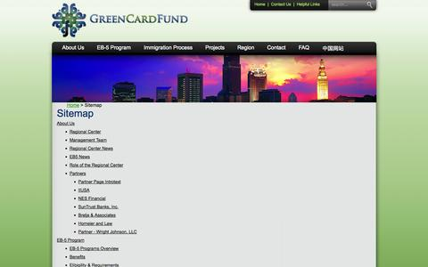 Screenshot of Site Map Page greencardfund.com - Sitemap - captured Oct. 3, 2014