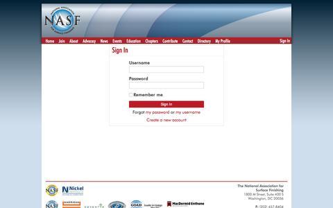 Screenshot of Login Page nasf.org - Sign In - captured Nov. 28, 2016
