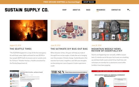 Screenshot of Press Page sustain.com - Sustain Supply Co. in the News - captured Oct. 18, 2018