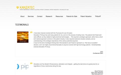 Screenshot of Testimonials Page kanzatec.com - Testimonials - KANZATECKANZATEC - captured Sept. 30, 2014