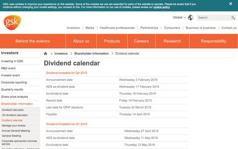 Screenshot of gsk.com - Dividend calendar | GSK - captured March 19, 2016