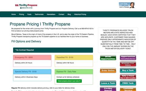 Screenshot of Pricing Page thriftypropane.com - Propane Pricing | Thrifty Propane - captured Sept. 6, 2016