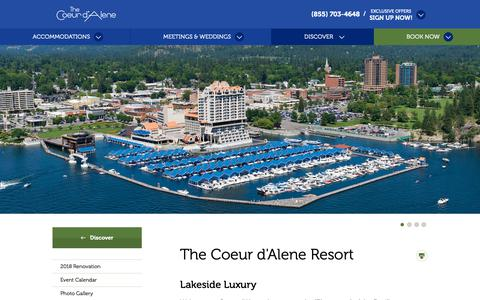 Screenshot of About Page cdaresort.com - The Coeur d'Alene | Coeur d'Alene Resort - captured Sept. 28, 2018
