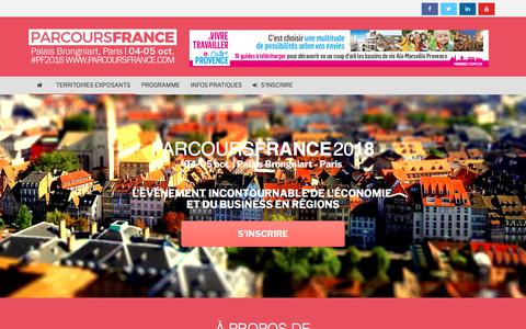 Screenshot of Home Page parcoursfrance.com - PARCOURS FRANCE 2018 - Palais Brongniart, 4-5 oct. - captured July 15, 2018
