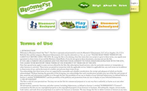 Screenshot of Terms Page bloomersisland.com - Term of Use - Bloomer's Island - captured Nov. 4, 2014