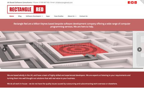 Screenshot of Home Page rectanglered.com - Bespoke Software Development in Milton Keynes - Rectangle Red - captured Oct. 20, 2018