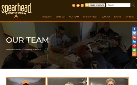 Screenshot of Team Page spearheadbeer.com - Our Team - Spearhead - captured Oct. 19, 2018