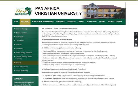 Screenshot of Jobs Page pacuniversity.ac.ke - Careers - captured June 29, 2018