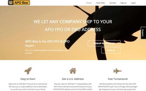 Screenshot of Home Page apobox.com - APO Box - captured Jan. 26, 2015