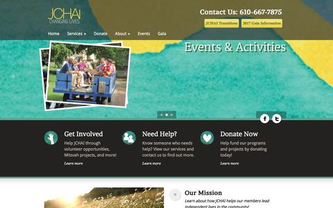 Screenshot of Home Page jchai.org - Giving Support to Adults with Disabilities | Judith Creed Homes for Adult Independence - captured May 26, 2017