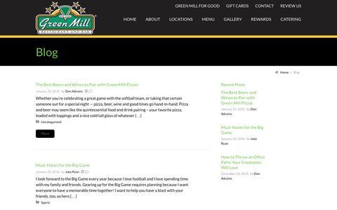 Screenshot of Blog greenmill.com - Blog | Green Mill Restaurant & Bar - captured Feb. 2, 2016