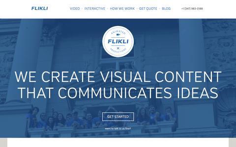 Screenshot of Home Page flikli.com - FLIKLI - A Visual Agency. - captured Sept. 23, 2014