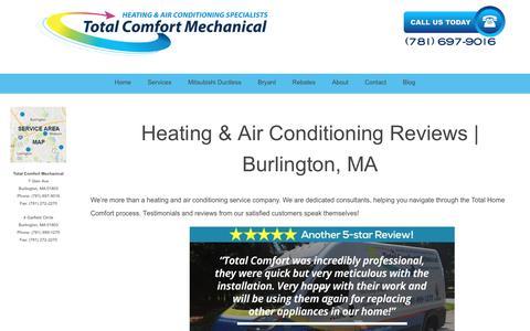 Screenshot of Testimonials Page totalcomfortmech.com - Heating Air Conditioning Service Testimonials & Reviews Burlington MA - captured Nov. 6, 2017