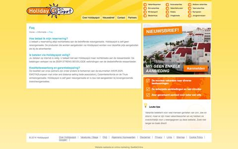 Screenshot of FAQ Page holidayspot.nl - FAQ - Last-minute vakantie en vakantieaanbiedingen | Holidayspot.nl - captured Sept. 19, 2014