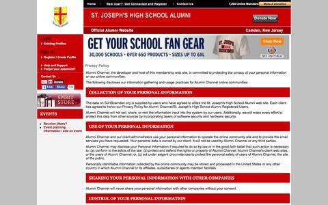 Screenshot of Privacy Page sjhscamden.org - St. Joseph's High School Alumni - Privacy Policy - captured March 4, 2016