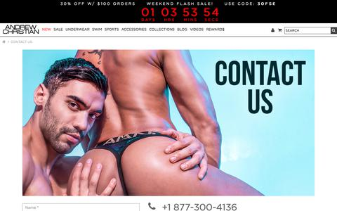Screenshot of Contact Page andrewchristian.com - Contact Us - captured July 14, 2019