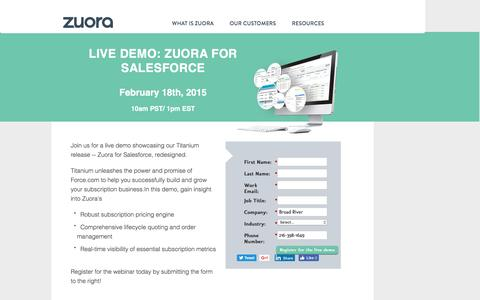 Screenshot of Landing Page zuora.com - Live Demo February 18th | Zuora - captured Aug. 15, 2016