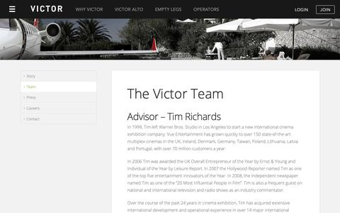 Screenshot of Team Page flyvictor.com - The Victor Team - Victor, Private Jet Charter - captured May 11, 2019