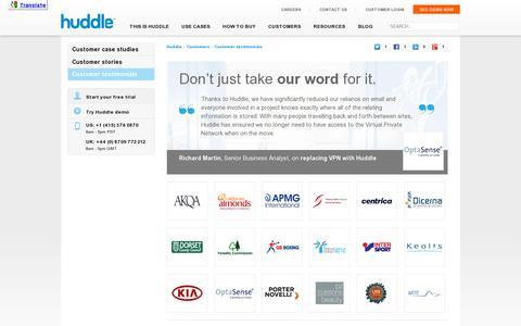 Screenshot of Testimonials Page huddle.com - Huddle Customer Testimonials | Huddle.com - captured July 18, 2014