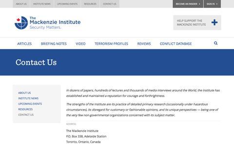 Screenshot of Contact Page mackenzieinstitute.com - Contact Us - Mackenzie Institute - captured Oct. 8, 2014