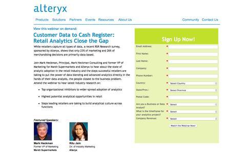 Screenshot of Landing Page alteryx.com - Customer Data to Cash Register: Retail Analytics Close the Gap - captured Feb. 26, 2016