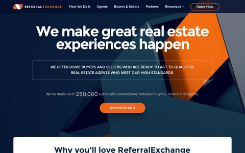 Screenshot of Home Page referralexchange.com - REALTOR® Referral Network | Real Estate Agent-to-Agent Leads - captured Oct. 1, 2016
