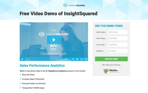 Screenshot of Landing Page insightsquared.com - InsightSquared Demo Video - captured April 12, 2017