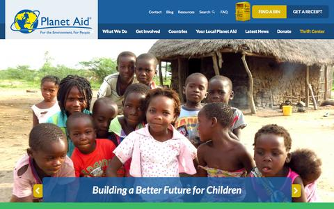 Screenshot of Home Page planetaid.org - Planet Aid, Inc. - captured Sept. 19, 2015