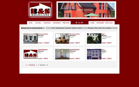 Screenshot of Locations Page bsimmo.lu - Immobilier - Ventes - Locations - Nouvelles constructions - captured Nov. 1, 2014