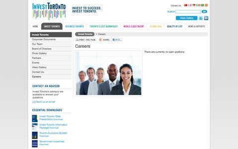 Screenshot of Jobs Page investtoronto.ca - Invest Toronto - Careers - captured Nov. 26, 2016