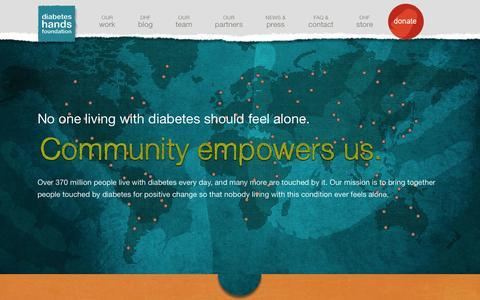 Screenshot of Home Page diabeteshandsfoundation.org - Diabetes Hands Foundation - captured Sept. 30, 2014