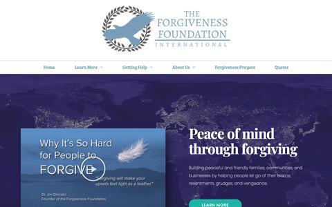 Screenshot of Home Page forgivenessfoundation.org - Forgiveness Foundation International, a 501c3 non profit - captured Oct. 22, 2018