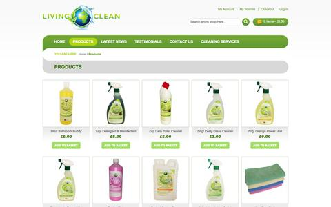 Screenshot of Products Page livingclean.co.uk - Products - captured Oct. 29, 2014
