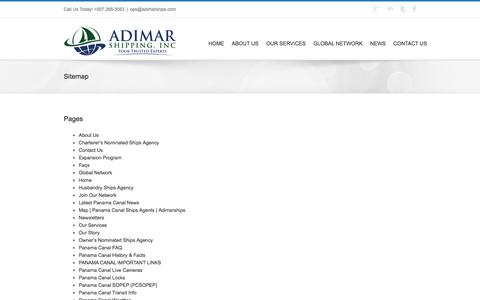 Screenshot of Site Map Page adimarships.com - Sitemap - Panama Canal Ship Agent & Agency - captured Nov. 2, 2014