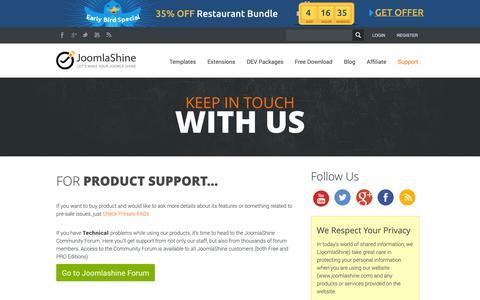 Screenshot of Support Page joomlashine.com - Contact Us   Joomlashine - captured Oct. 29, 2014