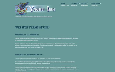 Screenshot of Terms Page yachtibis.com - Terms of Use - Yacht IBISYacht IBIS - captured Sept. 30, 2014