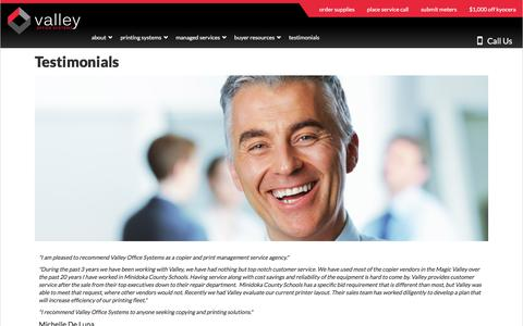 Screenshot of Testimonials Page valleyofficesystems.com - Testimonials - captured July 14, 2018