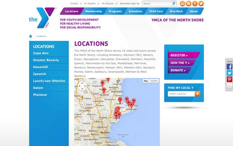 Screenshot of Locations Page northshoreymca.org - Locations - YMCA of the North Shore - captured Sept. 24, 2014