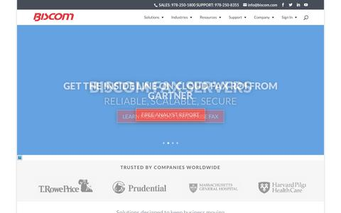 Screenshot of Home Page biscom.com - Secure File Sharing | FAXCOM | Fax Servers | Biscom - captured Feb. 24, 2018