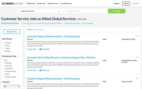 Screenshot of Support Page careerbuilder.com - Customer Service Jobs at Allied Global Services | CareerBuilder - captured May 2, 2017