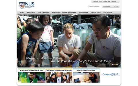 Screenshot of Jobs Page nus.edu.sg - NUS - National University of Singapore - captured Sept. 18, 2014
