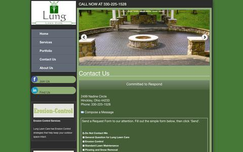 Screenshot of Contact Page lunglawncare.com - Lung Lawn Care Contact - captured Oct. 3, 2014