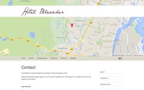 Screenshot of Contact Page hotelbleecker.nl - Neem contact met ons op | Hotel Bleecker Bloemendaal - captured Oct. 3, 2014