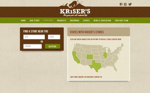 Screenshot of Locations Page krisers.com - Locations | Kriser's - captured Nov. 3, 2014